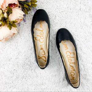 Sam Edelman Black Leather Scallop Ballet Flats 7.5
